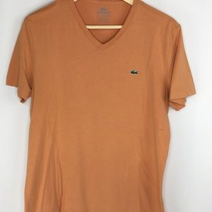 Lacoste Men Small T-shirt Pima Cotton Light Orange